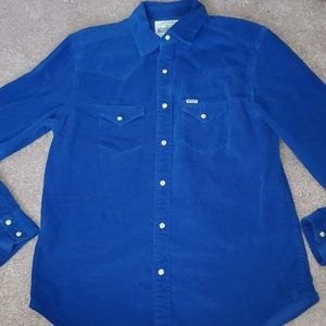 Aeropostale Corduroy Snap Button Blue Shirt M